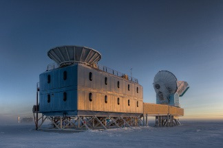 The Dark Sector Lab at the South Pole that houses the BICEP2 telescope that measured the polarization of cosmic microwave background (CMB) radiation. (Harvard)