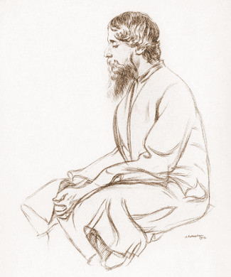 Tagore sketched by Sir William Rothenstein
